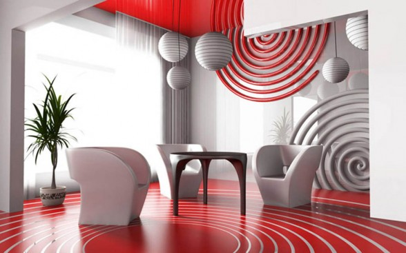 modern white red living room color scheme