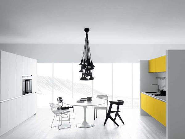 yellow-white kitchen design